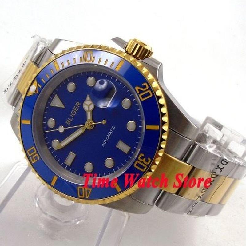 Bliger 40mm 自動巻き 機械式腕時計 メンズ ブルーベゼル ゴールドリング セラミックベゼル サファイアガラス