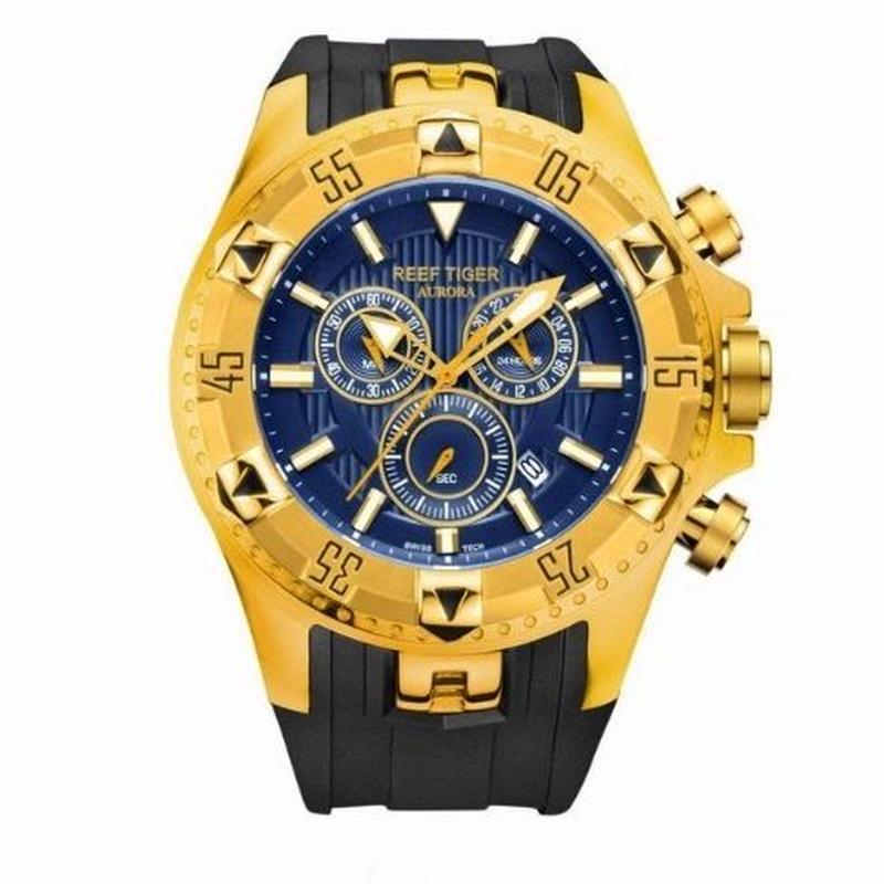 Reef tiger クォーツ腕時計 メンズ クロノグラフ ラバーストラップ カラバリ6色 RGA303