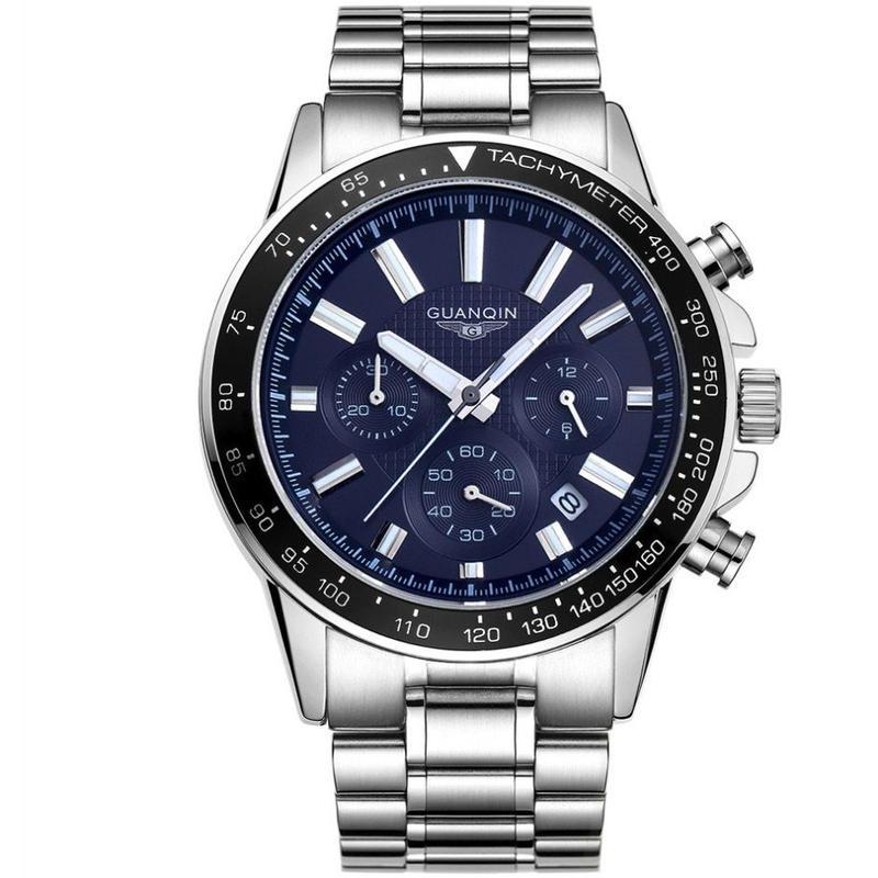 GUANQIN メンズ クォーツ腕時計 42.5mm ビジネス ブルー/ブラック/ホワイト
