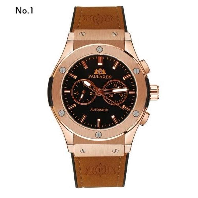 PAULAREIS P メンズ 自動巻腕時計 機械式 レザー/ラバーバンド 45mm 全9カラー