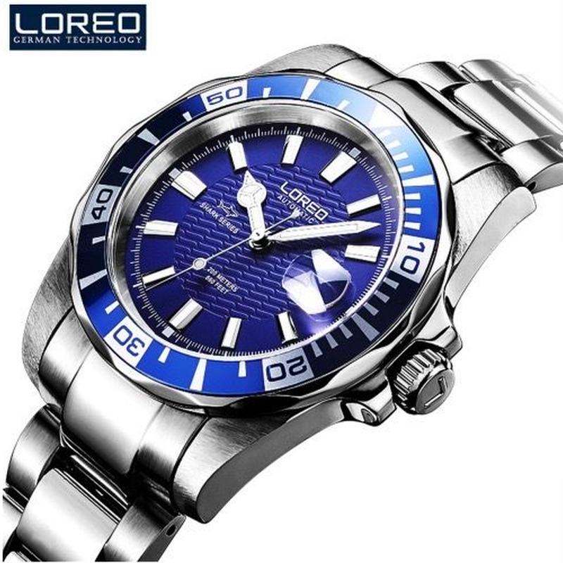 サブマリーナ風 Loreo メンズ 自動巻腕時計 200m防水