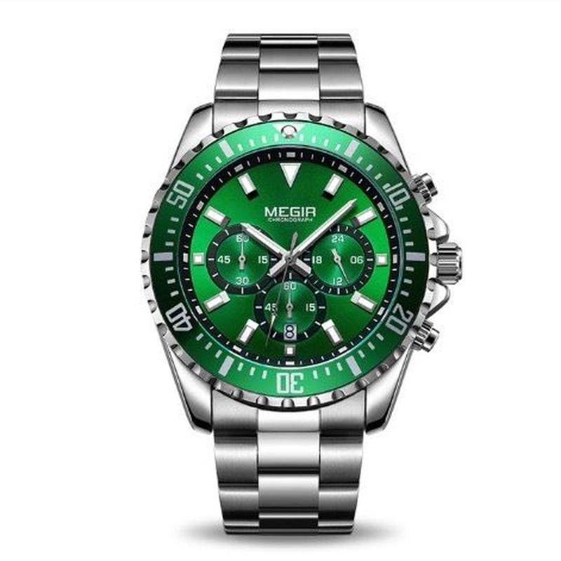 MEGIR メンズ クォーツ腕時計 46mm クロノグラフ ステンレス 4カラー