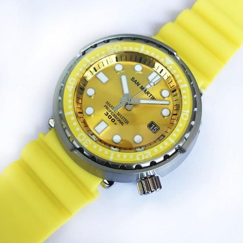 San Martin メンズ 自動巻腕時計 ツナ缶デザイン 48mm 300m防水 NH35ムーブ イエロー
