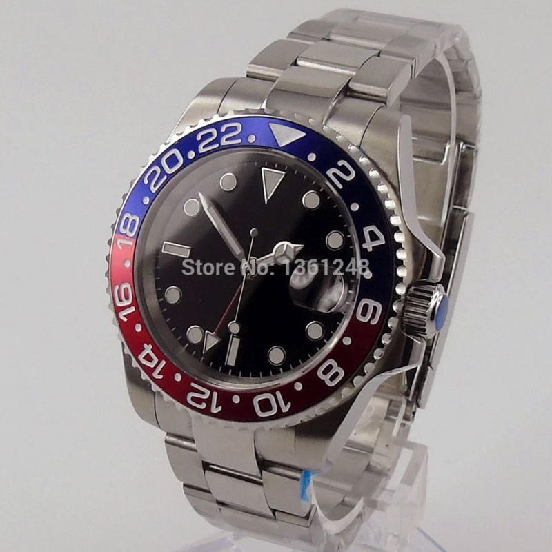 Parnis 自動巻き 機械式腕時計 メンズ 3気圧防水 サファイアガラス レッド×ブルーベゼル 高級ブランド 人気のぺプシカラー