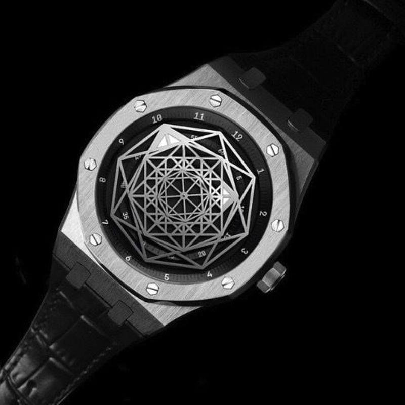 DIDUN DESIGN メンズ クォーツ腕時計 40mm レザーバンド スパイダー模様