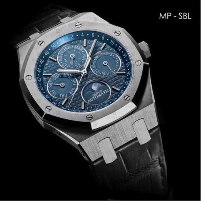 DIDUN 自動巻き  機械式腕時計  日本ミヨタ製ムーブメント ミリタリー ムーンフェイズ レザーストラップ 8色展開