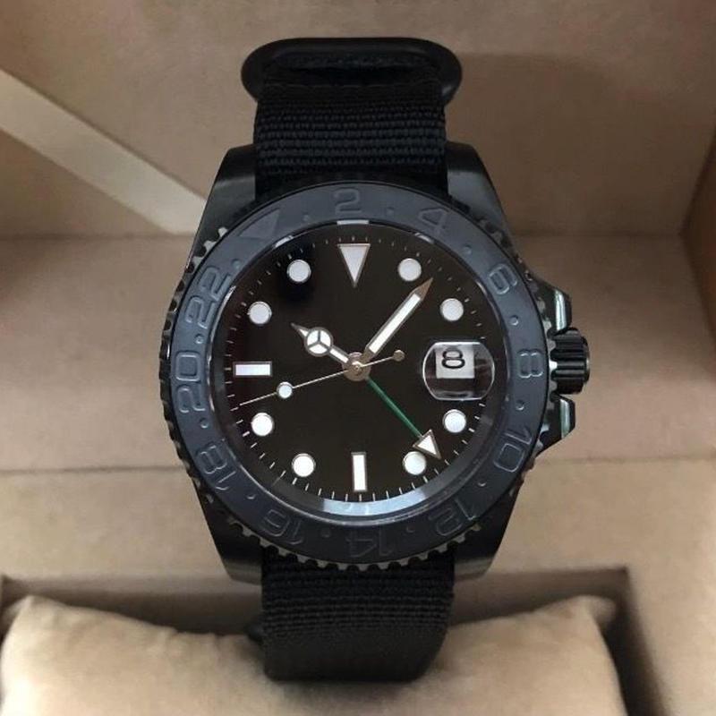 メンズ 自動巻腕時計 ロゴなし ノーロゴ GMTマスタースタイル 40mm PVDケース