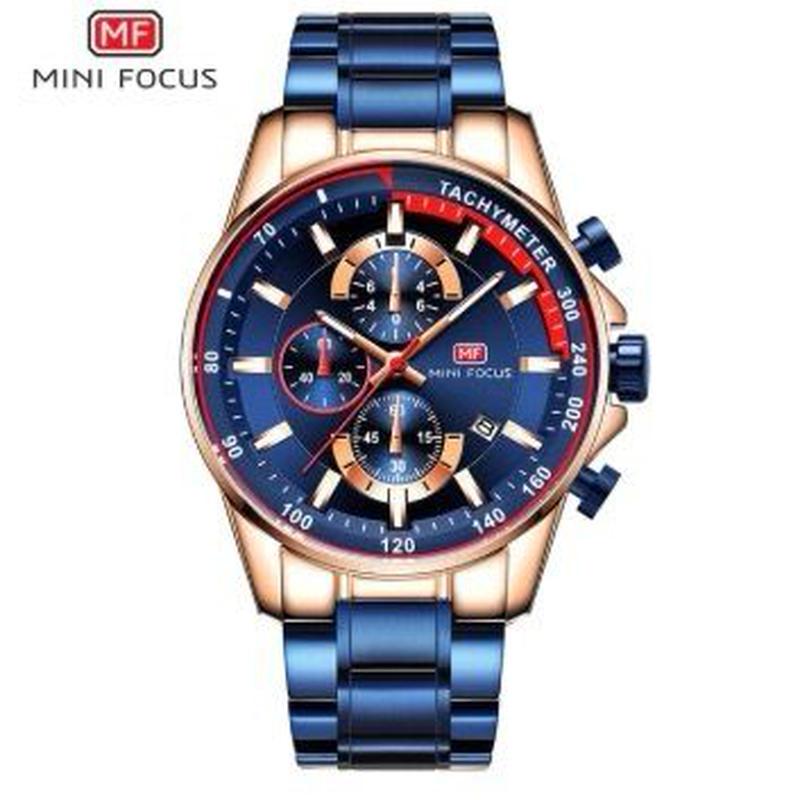 MINI FOCUS メンズ クォーツ腕時計 46mm スチールバンド 全4カラー