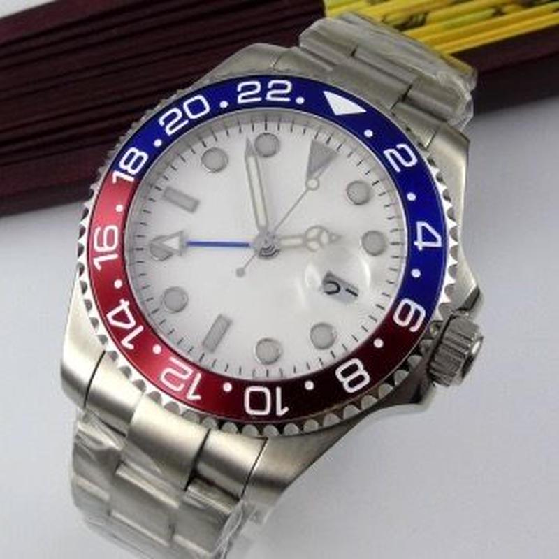 Bliger メンズ 自動巻腕時計 43mm GMTマスタースタイル ロゴなし ノーロゴ 赤青ベゼル ペプシカラー