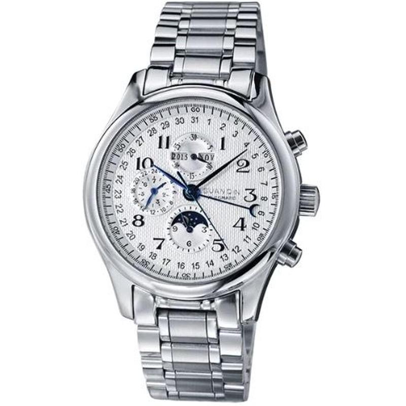 GUANQIN メンズ 自動巻腕時計 SS/レザーバンド 40mm