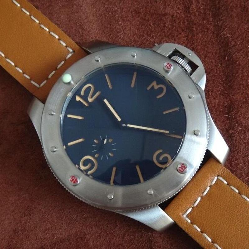 GEERVO 手巻き腕時計 60mm ビッグフェイス メンズ ロゴなし 17石
