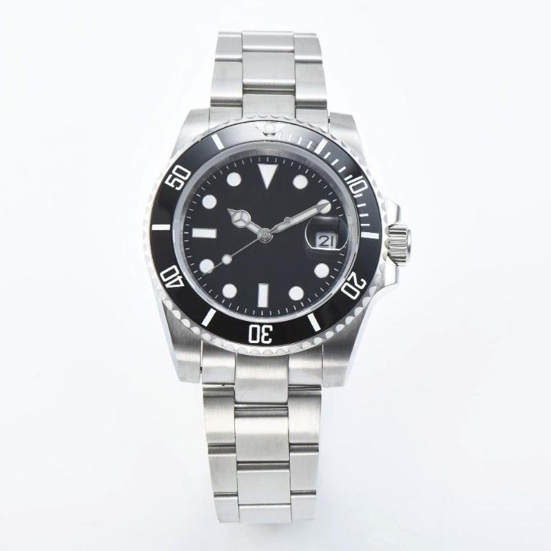 メンズ 自動巻腕時計 40mm サブマリーナスタイル ブラック サファイアクリスタル セラミックベゼル