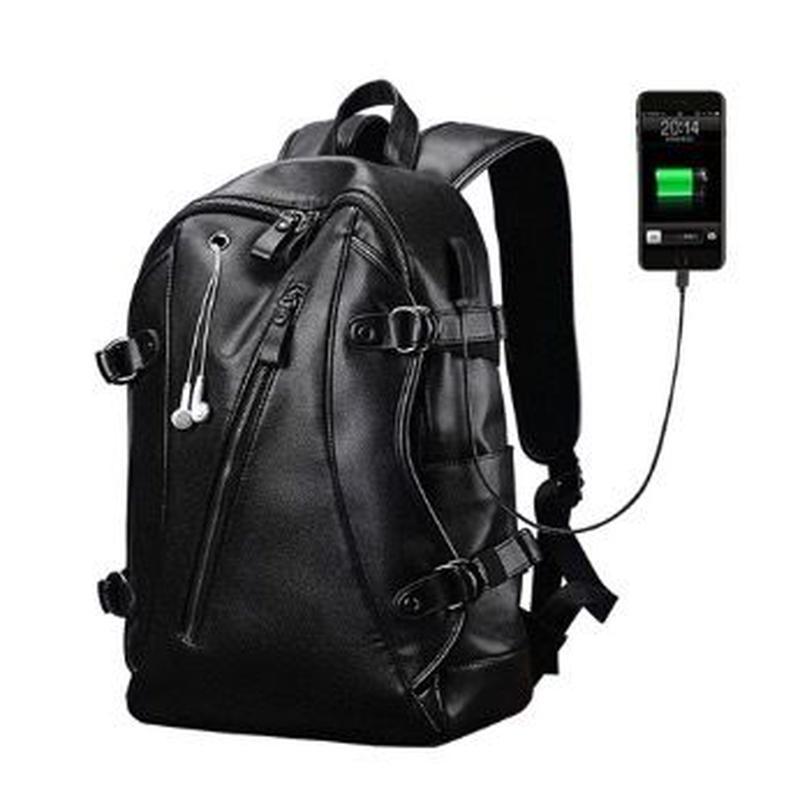 LIELANG メンズ バックパック USB充電 防水 PUレザー トラベルバッグ