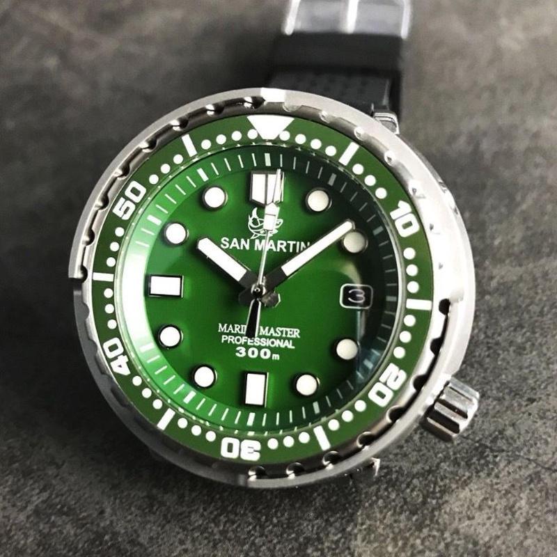 San Martin メンズ 自動巻腕時計 ツナ缶スタイル NH35ムーブ 300m防水 48mm グリーン/ブルー/ブラック