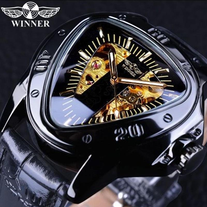 WINNER メンズ 自動巻腕時計 機械式 45mm プラミッドデザイン スケルトン  ブラック