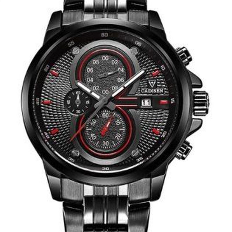 CADISEN C9054 メンズ クォーツ腕時計 47mm ミリタリー レッド/ブラック ステンレス/レザーバンド