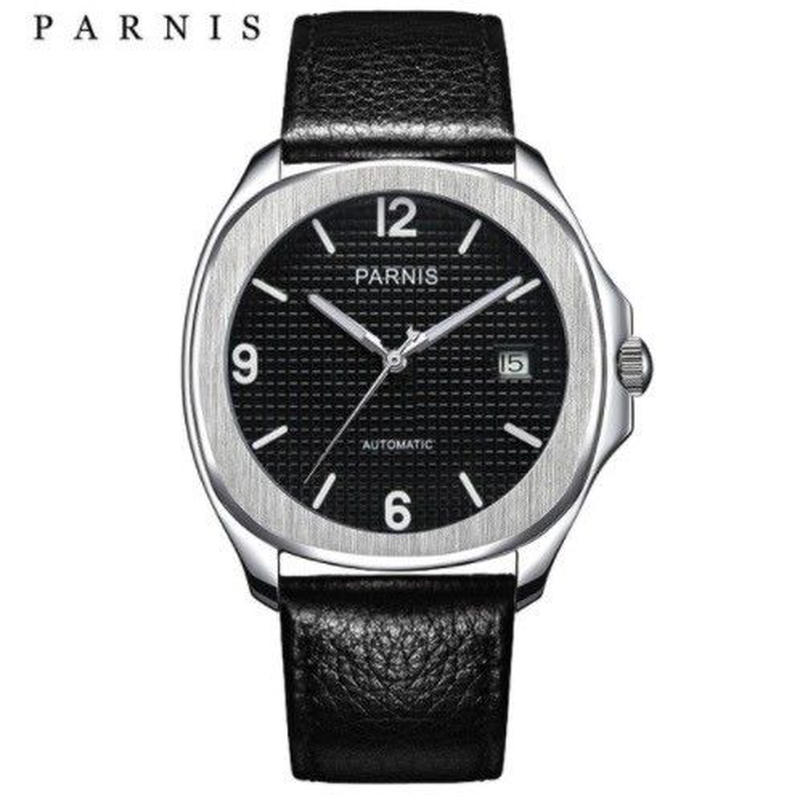 Parnis 自動巻き 機械式腕時計 メンズ レザーバンド  スケルトン 4色展開