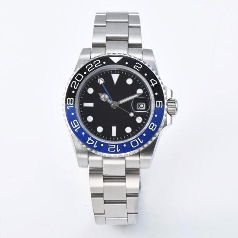 ノーロゴ腕時計 GMTマスタースタイル 40mm 黒青セラミックベゼル サファイアクリスタル 自動巻 メンズ