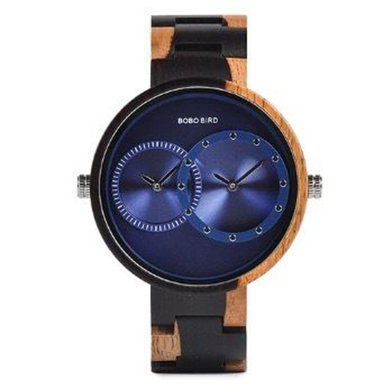 BOBO BIRD メンズ クォーツ腕時計 44.9mm 木製腕時計 ゼブラ 全3カラー