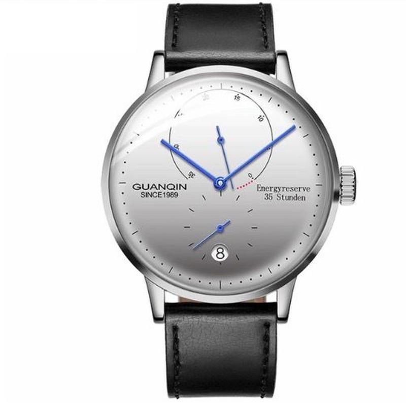 GUANQIN メンズ 自動巻腕時計 裏スケ 42mm レザーストラップ