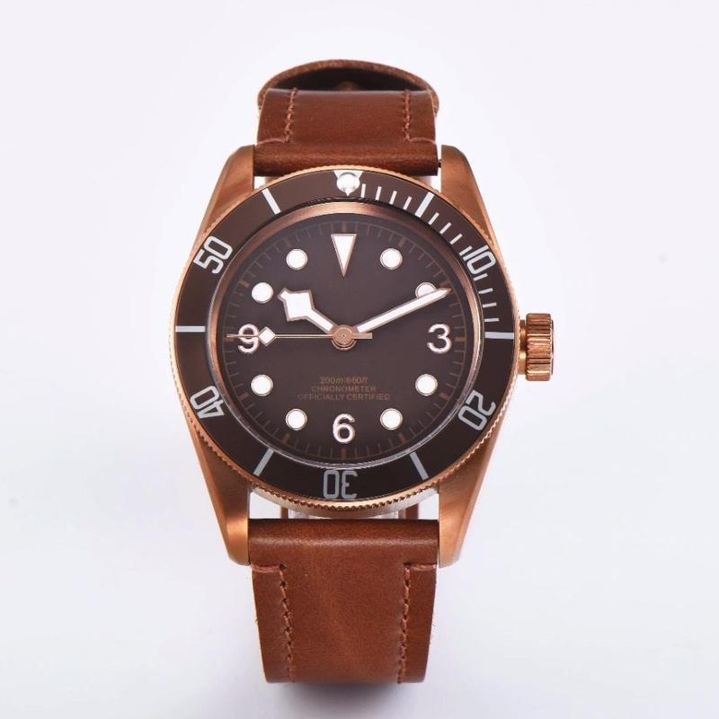 CORGEUT メンズ自動巻腕時計 ロゴなし 41mm イカ針 チュードル ヘリテージブラックベイ ブロンズをオマージュ