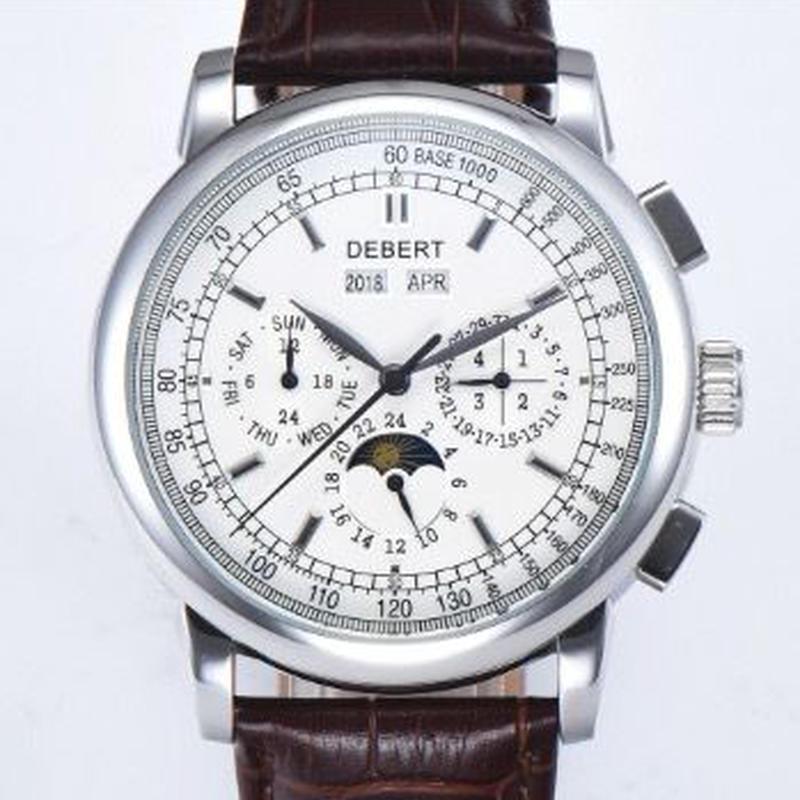 DEBERT トリプルカレンダー ホワイトダイヤル 42mm 自動巻腕時計 ブラウンレザーバンド