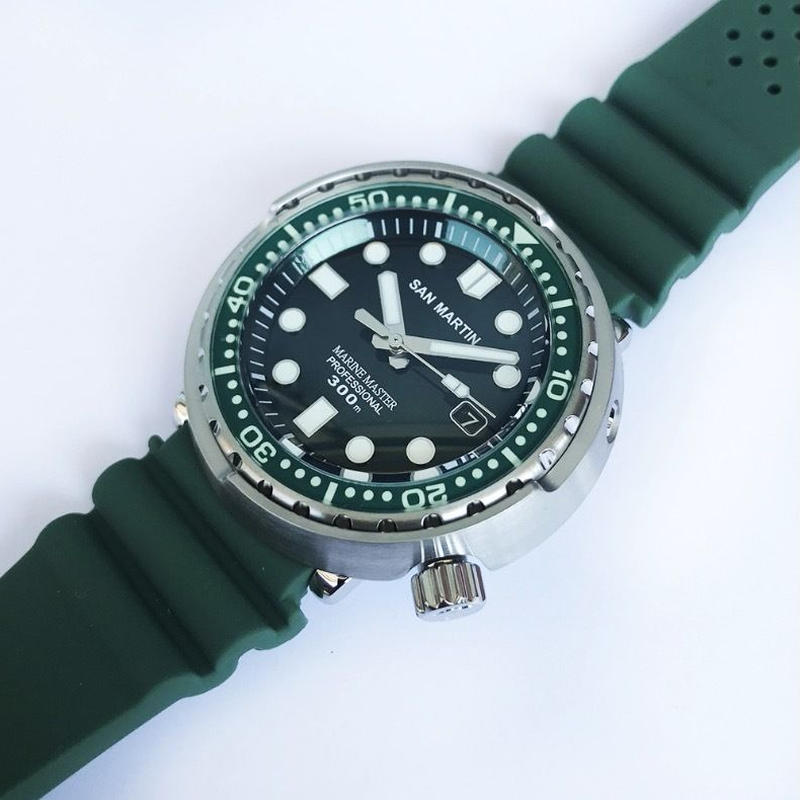 San Martin メンズ 自動巻腕時計 ツナ缶デザイン 48mm 300m防水 NH35ムーブ グリーン