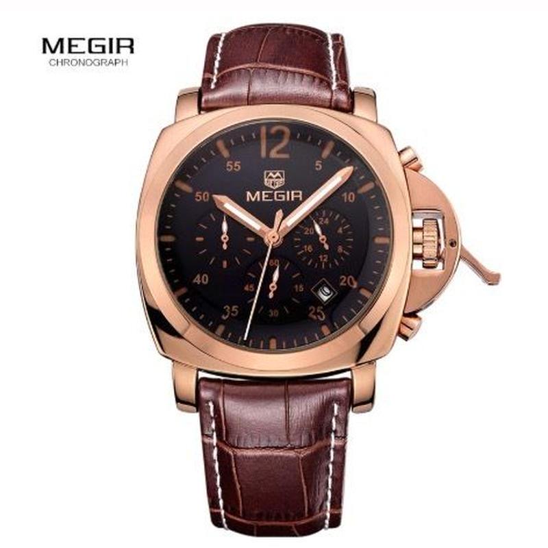 MEGIR メンズ クォーツ腕時計 43mm レザーストラップ 全5色 ミリタリースタイル