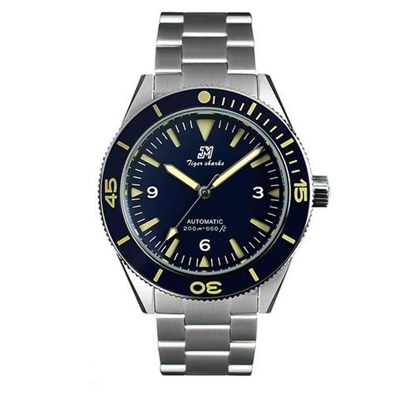 [007好きな方に] San Martin メンズ 自動巻腕時計 200m防水 シーマスター風 セラミックベゼル