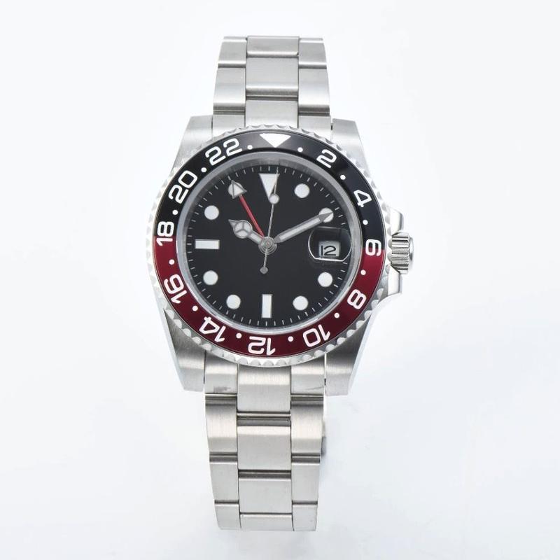メンズ 自動巻腕時計 GMTマスタースタイル  40mm 黒赤ツートンベゼル サファイア風防