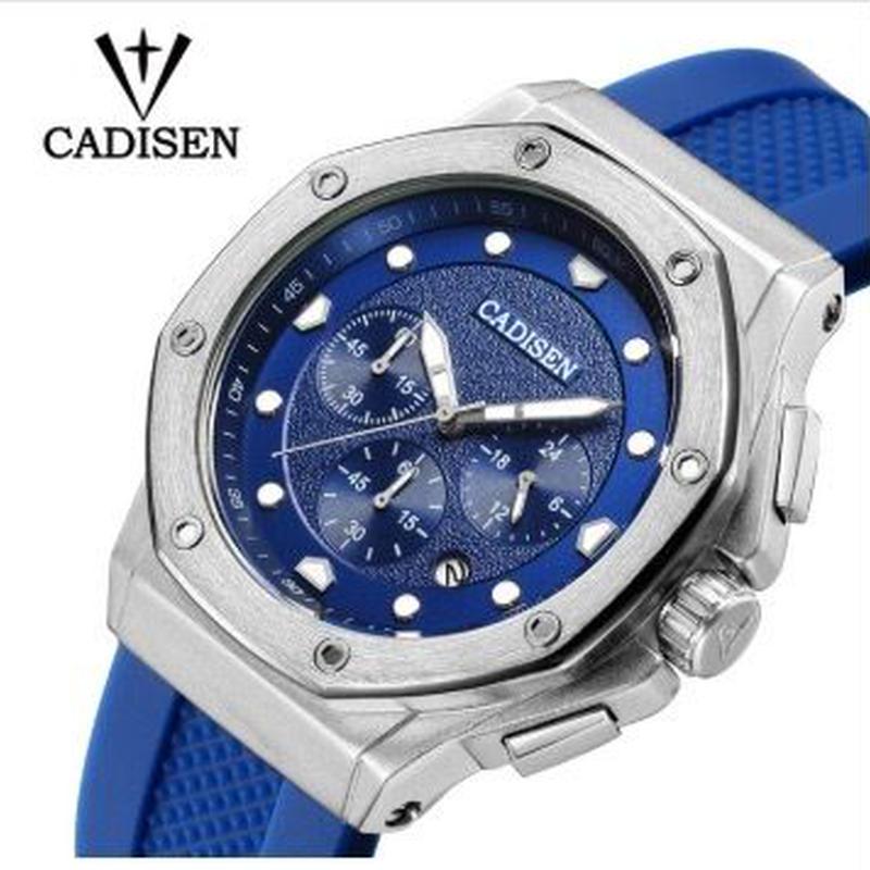 CADISEN メンズ クォーツ腕時計 45mm シリコンストラップ
