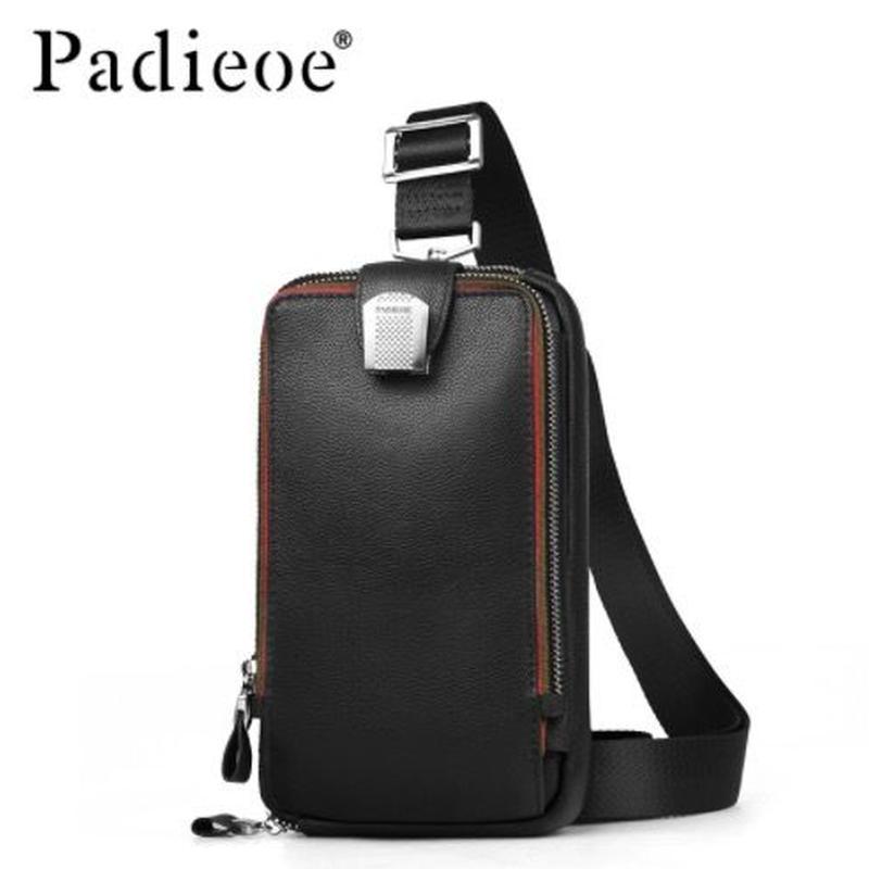 Padieoe   ショルダーバッグ ボディバッグ クロスバッグ  牛革 メンズ カラバリ3色