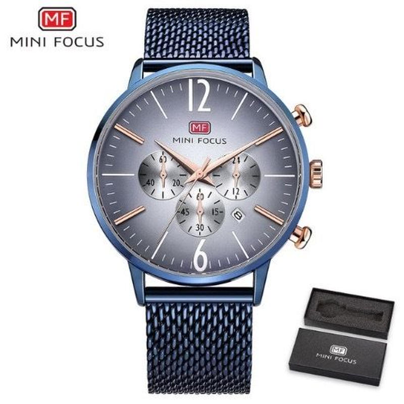 MINIFOCUS メンズ クォーツ腕時計 メッシュストラップ 極薄