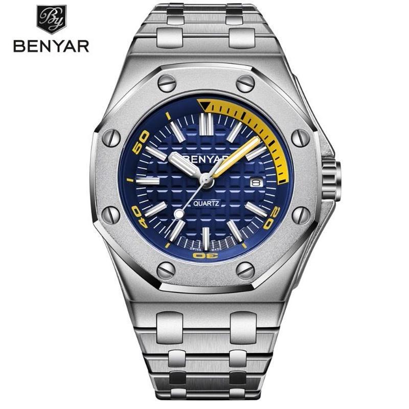 [2019年新作] BENYAR メンズ クォーツ腕時計 43mm