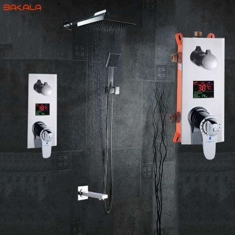 電源要らずの浴室シャワーセット 高級シャワーヘッド おしゃれ  LEDデジタルディスプレイ サーモスタット