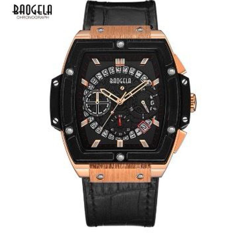 BAOGELA メンズクォーツ腕時計 レザーストラップ スクエアボディ 全3色