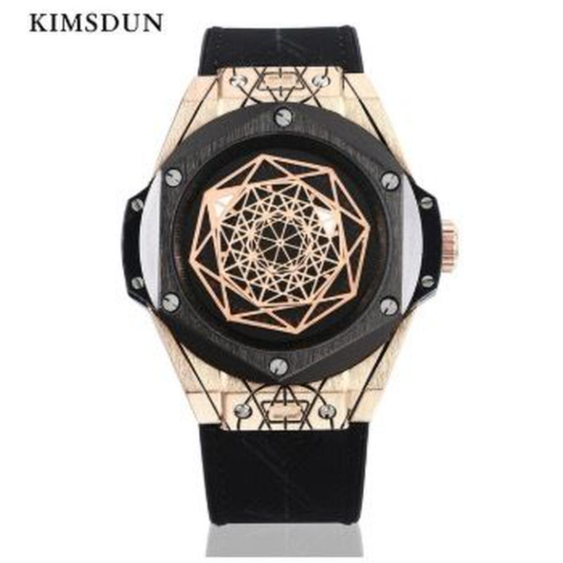 KIMSDUN メンズ クォーツ腕時計 レザーストラップ ルミナスハンズ
