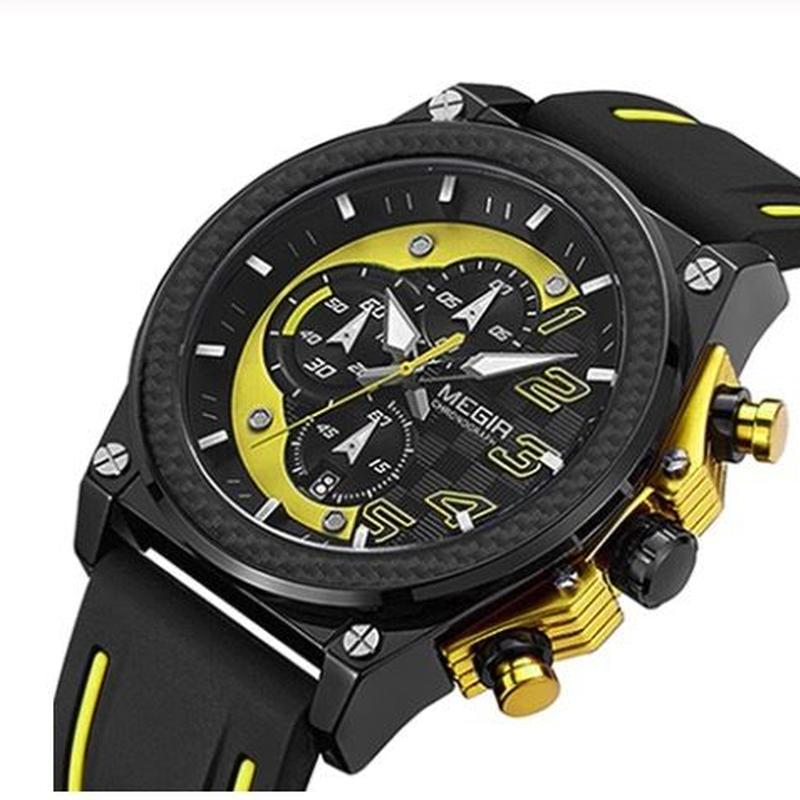 MEGIR バンブルビースタイル メンズ クォーツ腕時計 クロノグラフ 46mm レッド/ブルーも選択可能