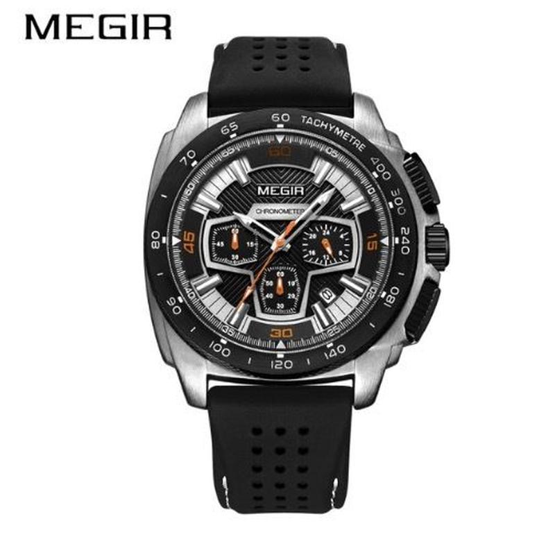 メンズ クォーツ腕時計 クロノグラフ ミリタリー カラバリ3色 Megir