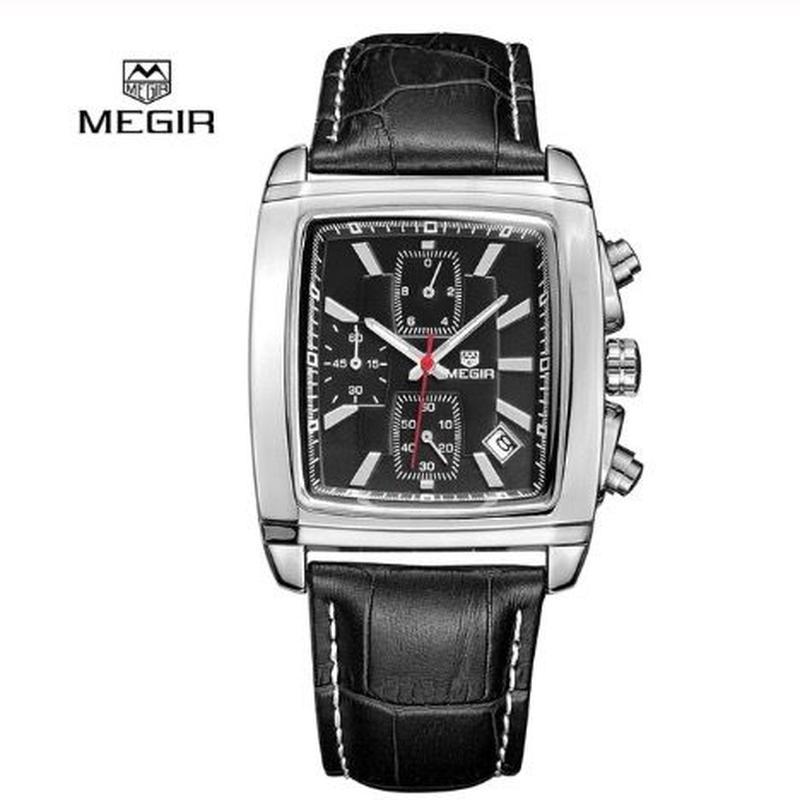 MEGIR メンズ クォーツ腕時計 39mm スクエアタイプ クロノグラフ ブラック/ブラウン