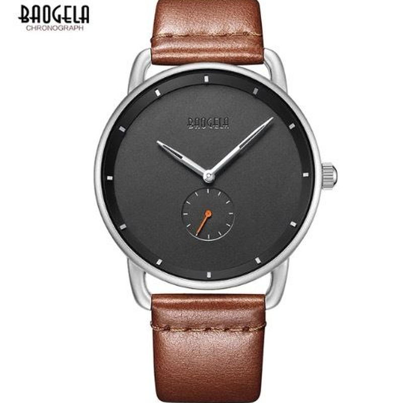 BAOGELA メンズ クォーツ腕時計 超薄型 レザーストラップ