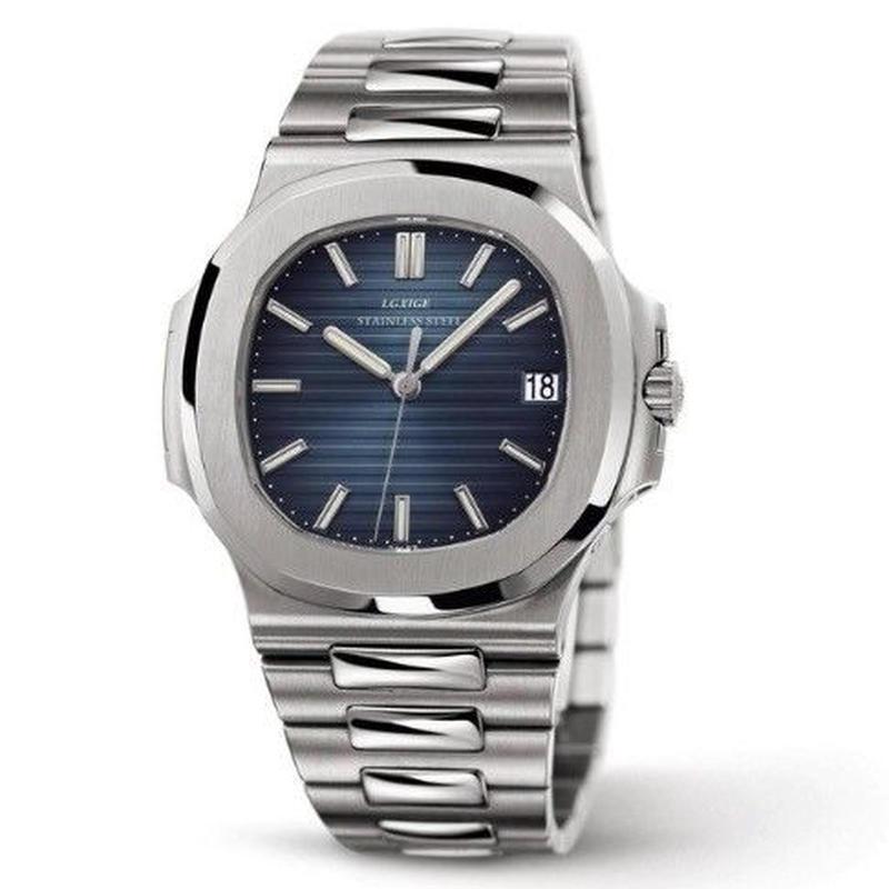 LGXIGE ノーチラス風 メンズ クォーツ腕時計 40mm カラバリ7色