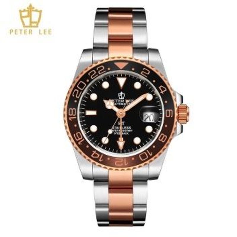 PETER LEE メンズ 自動巻腕時計 クラシック 40mm ブラック/ホワイトダイヤル ルミナスハンズ