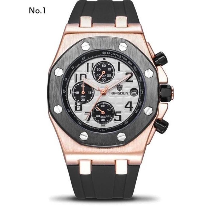 KIMSDUN メンズ クォーツ腕時計 ラバーバンド カジュアル スポーツウォッチ