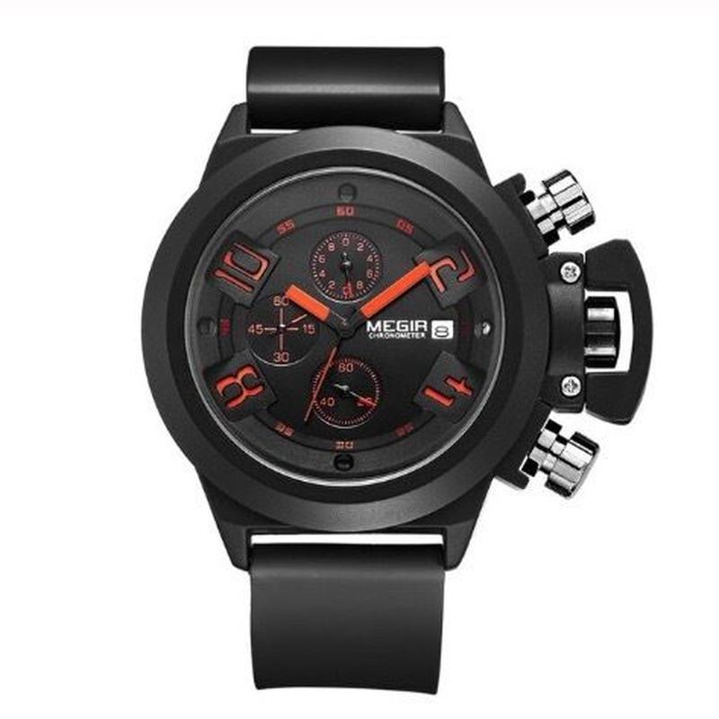 MEGIR メンズ クォーツ腕時計 2002 クロノグラフ 48mm ブラック/ホワイト 3Dデザイン