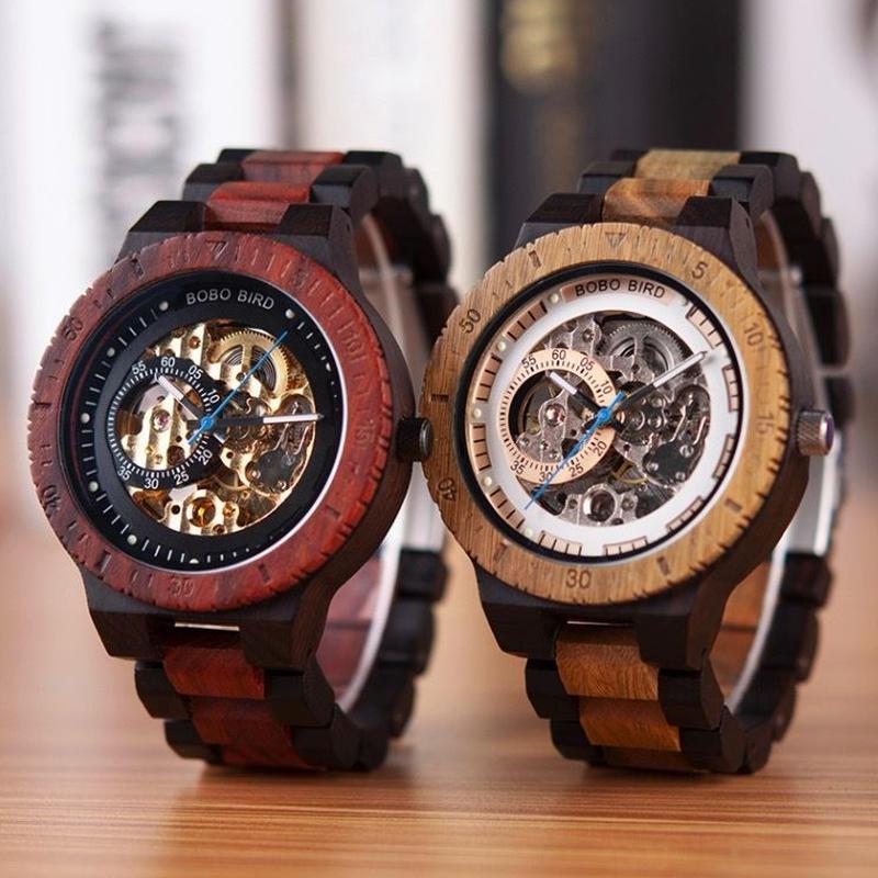 BOBO BIRD 木製腕時計 メンズ 自動巻機械式 スケルトン