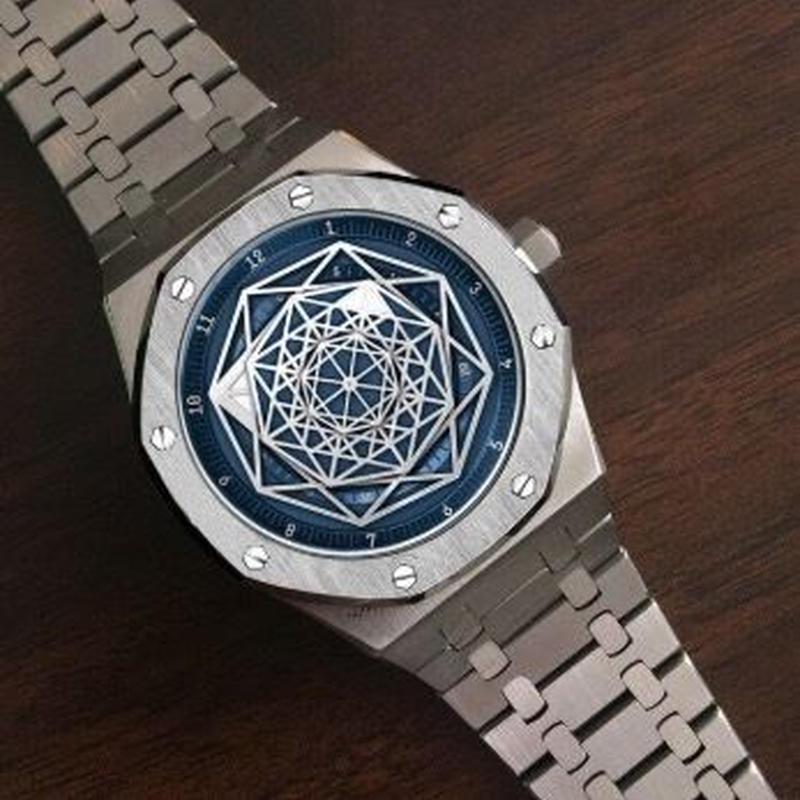 DIDUN DESIGN 自動巻腕時計 メンズ 41mm 30m防水 蜘蛛の巣模様
