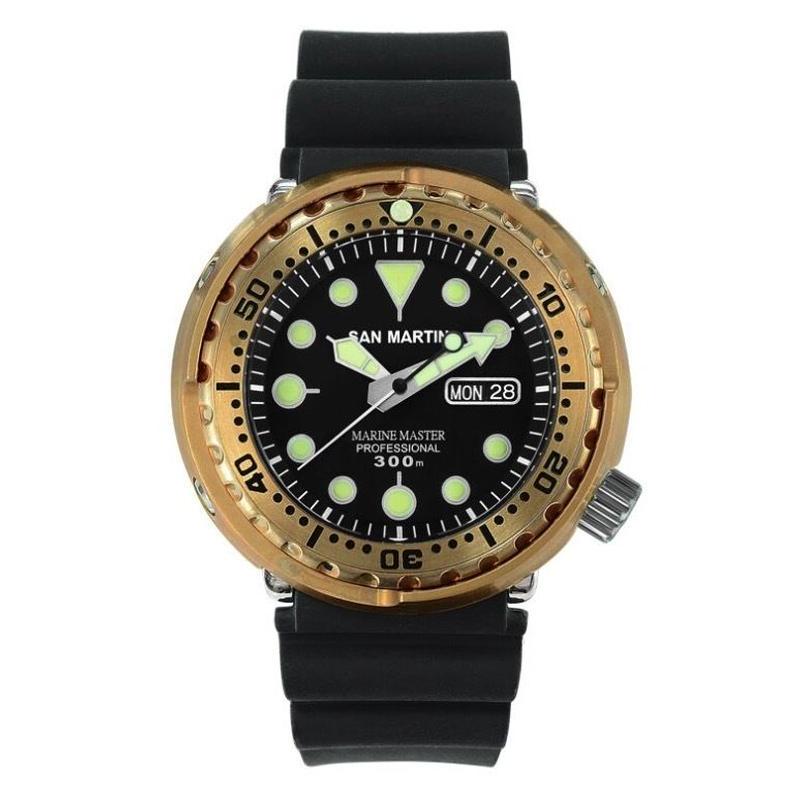 San Martin メンズ 自動巻腕時計 ブロンズ 47mm 300m防水 バンドカラー選択可能