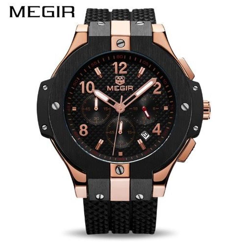 ビッグバン風 メンズ クォーツ腕時計 クロノグラフ ミリタリー Megir
