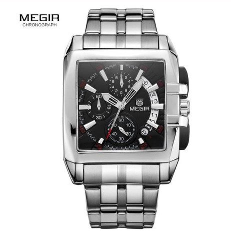 MEGIR メンズ クォーツ腕時計 40mm クロノグラフ ブラック/ホワイト